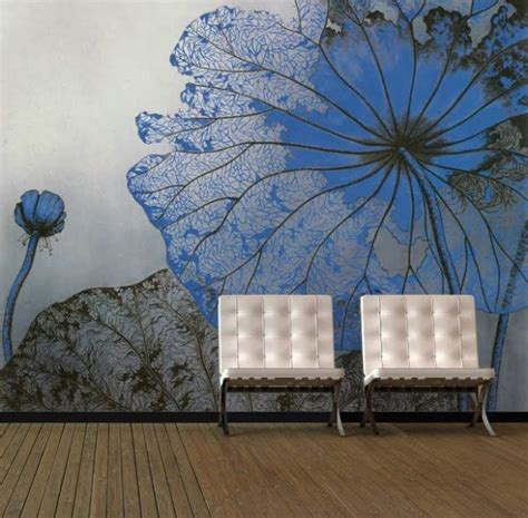 floral wall mural perfectly addition   living room