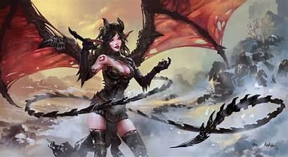 Demon Horns Wings Tail Fantasy Drawing Wall