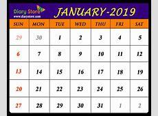January 2019 Calendar All Countries Holidays List