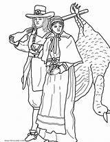 Coloring Pages Thanksgiving Couple Pilgrim Pilgrims Adult Started Land Got Living Things sketch template
