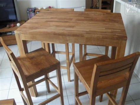 table haute en teck table et chaises teck massif naturel alinea montigny l 232 s cormeilles 95370