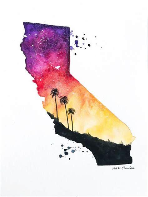 original california state map watercolor