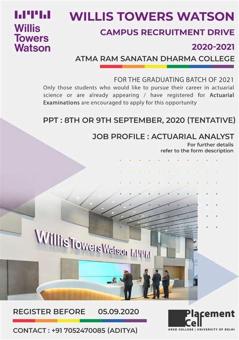 Recruitment Drive by Willis Towers Watson – Atma Ram ...