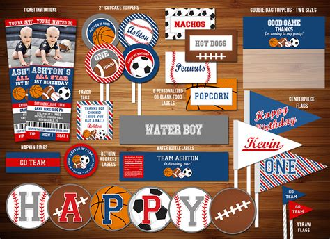 printable  star sports birthday party package
