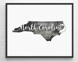 North Carolina State Outline Watercolor Printable North