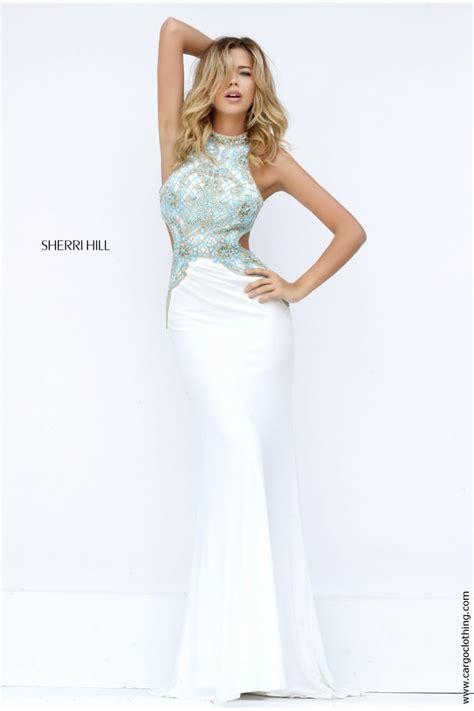sherri hill light blue dress sherri hill 50153 beaded bodice feature cutout gown