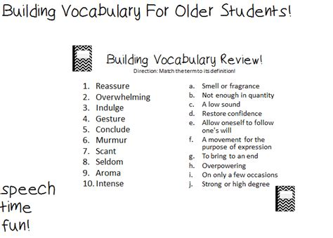 Building Vocabulary For Older Students