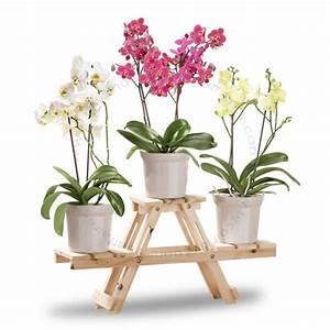 Etagere Pour Fleur : etag re support porte pots de fleurs en bois pour 3 pots ~ Zukunftsfamilie.com Idées de Décoration