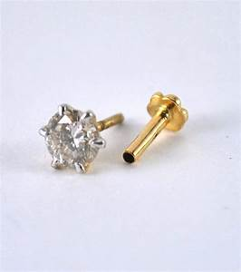 Solitaire Nose Stud. Diamond Nose Pin. 14K Gold Nose Piercing