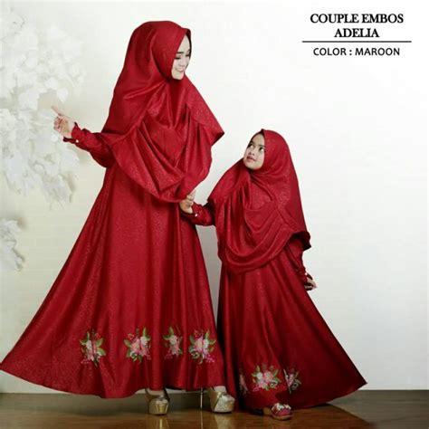 Embos Maroon baju gamis ibu anak adelia busana muslim pasangan