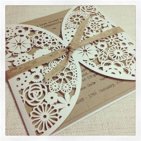 laser cut wedding invitations rustic floral lasercut wedding invitation simply