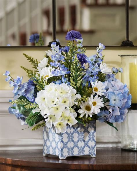 hydrangeas  blue silk flower decorating ideas blue