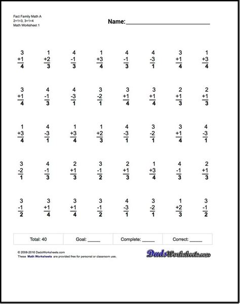 fact family worksheets  structured   minute