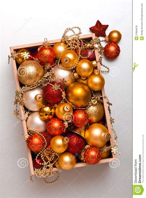 box  christmas decorations royalty  stock