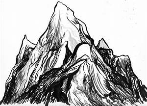 Drawn mountain sketch easy - Pencil and in color drawn ...