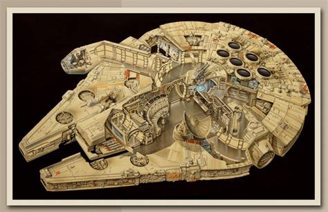 Han Freighter Diagram by 20 Year Millennium Falcon Cut Away From Lucasfilm