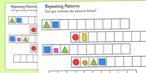 repeating pattern worksheets shapes  colours