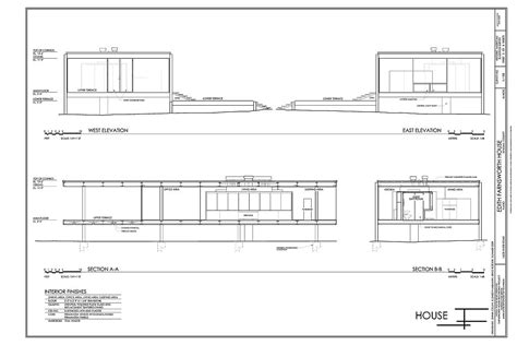 west east elevations  sections edith farnsworth