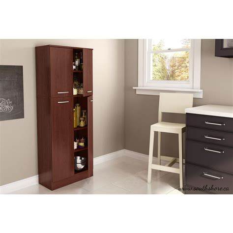 kitchen storage cabinets with doors south shore axess 4 door royal cherry food pantry 7146971 8612