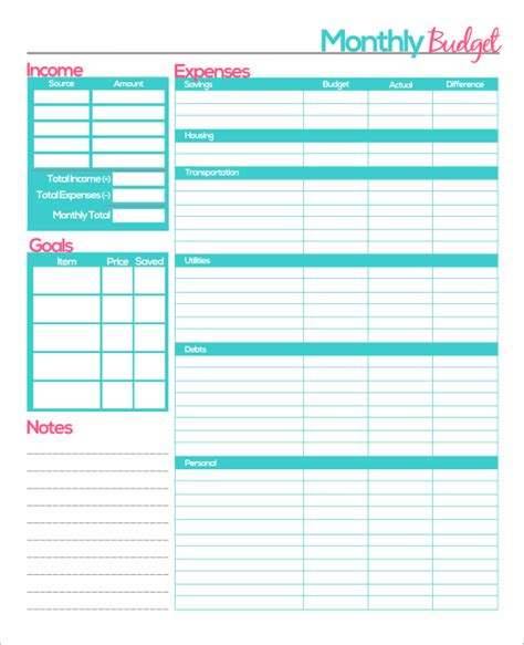 budget planner template printable planner template