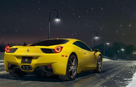 wallpaper ferrari  snow yellow italia road