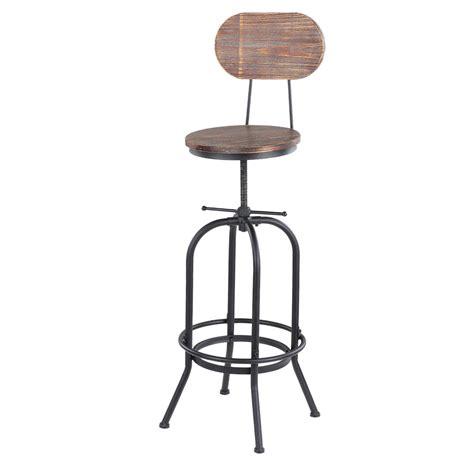 chaise de bar style industriel wood ikayaa bar stool height adjustable swivel kitchen