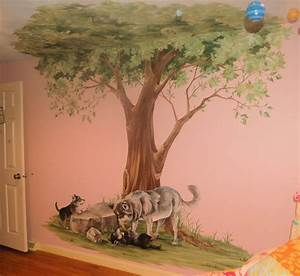 Tree Mural with Wolves - Traditional - Kids - Boston - by