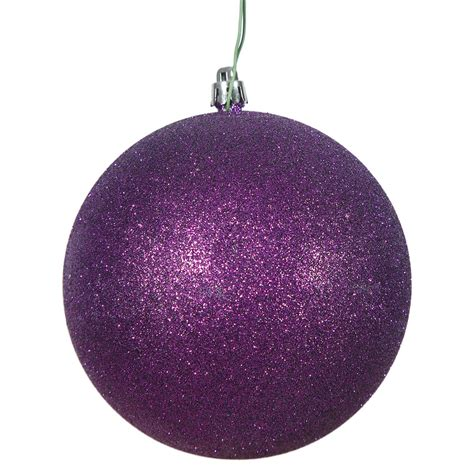 vickerman 10 quot purple glitter christmas ball ornament