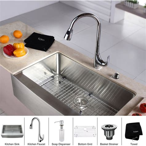 kitchen sink and faucet combinations kraus khf200 33 kpf1621 ksd30ch kitchen sink and faucet combo 8430