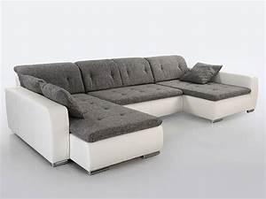 Kunstleder Sofa Weiß : sofa couch ferun 365x200 185 cm webstoff hellgrau ~ Lateststills.com Haus und Dekorationen
