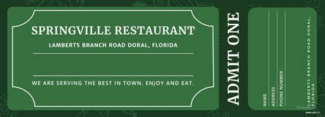 meal ticket template  adobe illustrator photoshop