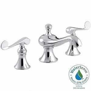 Kohler revival 8 in widespread 2 handle low arc water for Water saving bathroom faucets