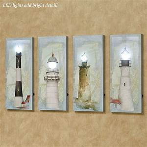 coastal lighthouse led lighted canvas wall art set With lighted wall art