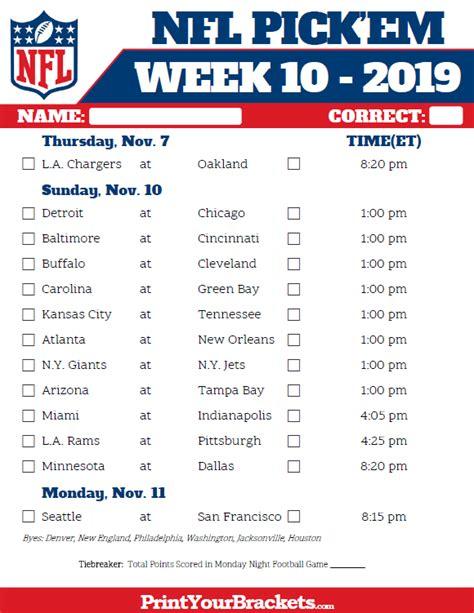 printable nfl week  schedule pick em pool