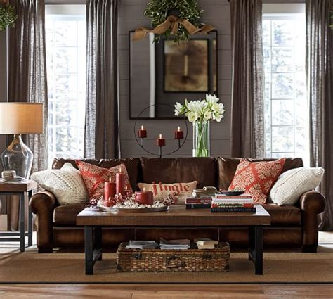 Pottery Barn Living Room Pillows by Turner Roll Arm Leather Sofa For The Home