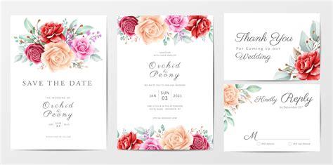 Floral wedding invitation cards template set Download