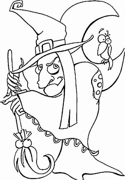 Witch Coloring Halloween Pages Scary Witches Printable