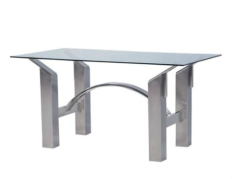 brushed nickel desk l modern polished nickel and brushed steel table or desk at