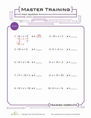 practice algebra equations worksheet education