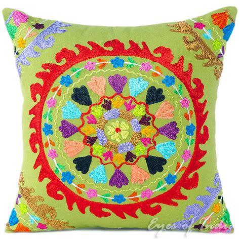 bohemian pillow covers green colorful decorative embroidered boho bohemian