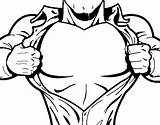 Chest Superhero Coloring Coloringcrew sketch template