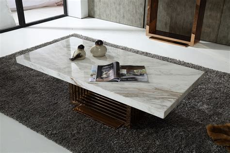 modrest kingsley modern marble rosegold coffee table