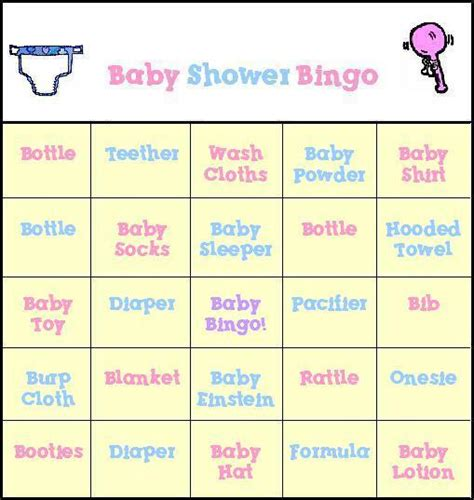 baby shower bingo  printable baby shower bingo cards