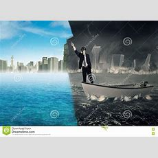 Man Transforming Collapse City Into New City Stock Photo