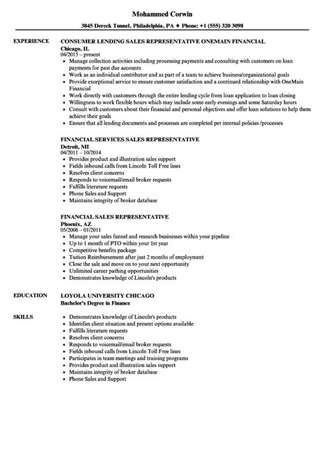 Financial Service Representative Resume by Financial Sales Representative Resume Sles Velvet