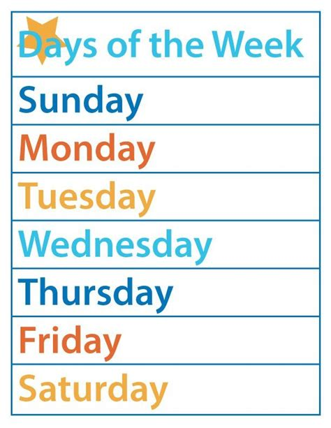 days   week  printable     honest