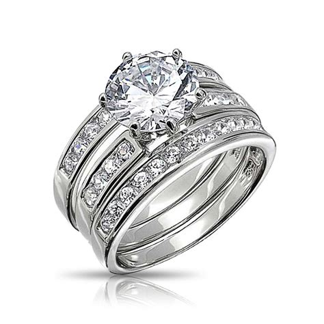 2ct 3 piece cz colorless cut bridal engagement wedding ring cubic zirconia pave 925