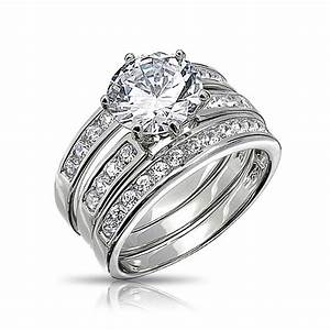 round cut cz 3 piece bridal engagement ring set sterling With 3 ring wedding set