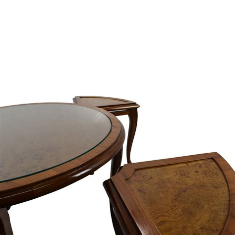 69 off round glass top coffee table with 4 nesting