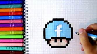 pixel art hecho  mano como dibujar el logo facebook en